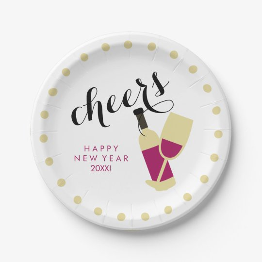 Cheers Modern Happy New Year Wine and Gold Dots Paper Plate | Zazzle.com