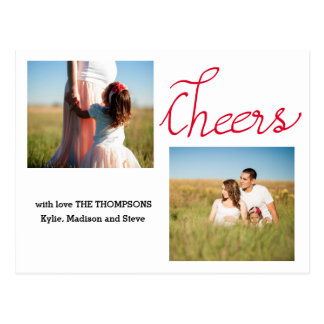 Cheers Modern Script Two Holiday Photo Postcard