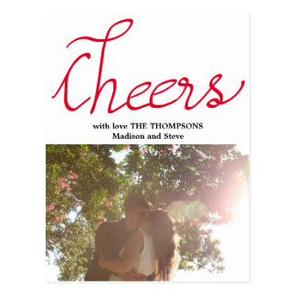 Cheers Modern Typography Holiday Photo Postcard
