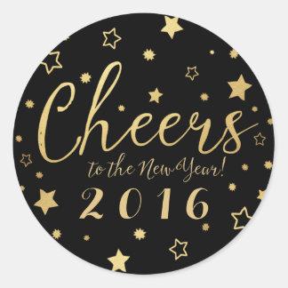 Cheers New Year Custom Stickers / Black