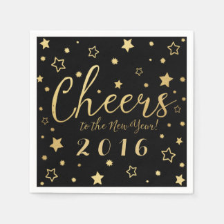 Cheers New Year's Eve Party Napkins / Black