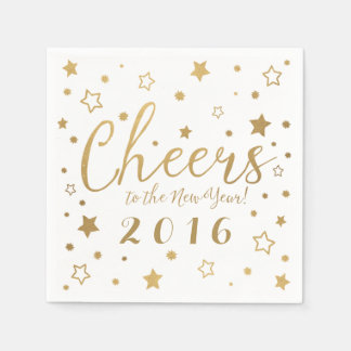 Cheers New Year's Eve Party Napkins / White
