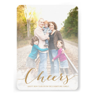 Cheers New Years Photo Card Personalized Invites