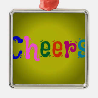 Cheers Square Metal Christmas Ornament