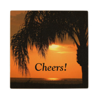 """""""Cheers"""", palm tree sunset, wooden coaster. Maple Wood Coaster"""