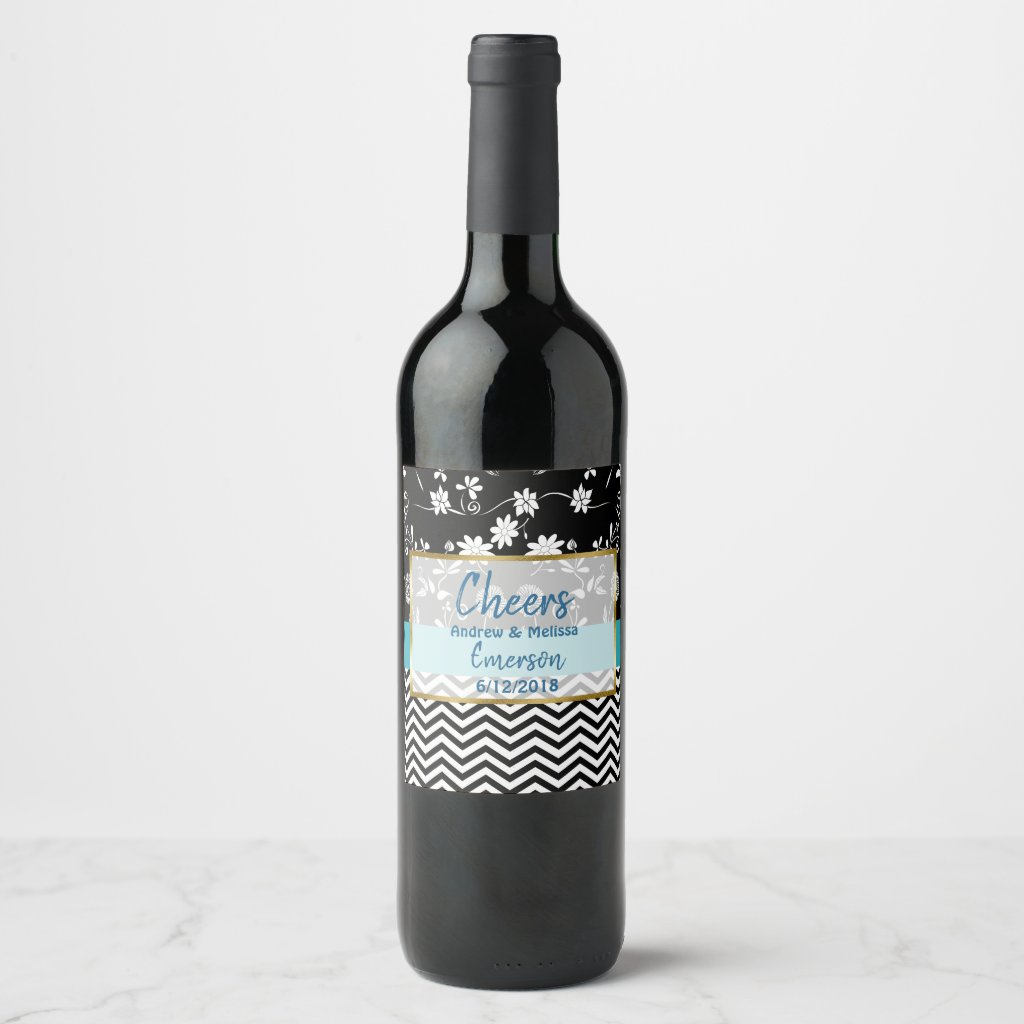 Cheers Personalized Wedding Wine Bottle Labels
