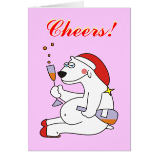 Cheers Polar Bear with Champagne New Years Cards