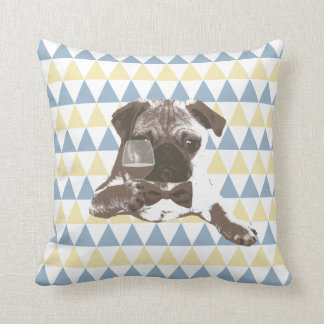 Cheers Pug with a Glass of Wine Triangle Patterns Throw Pillows