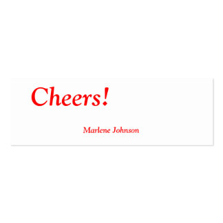 CHEERS Red Option Name Personal Thin Gift Tag Double-Sided Mini Business Cards (Pack Of 20)