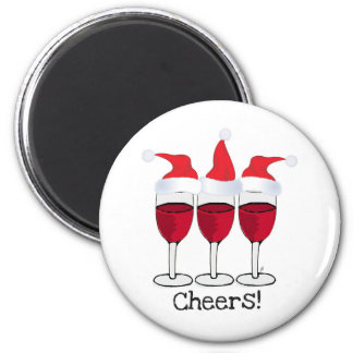 CHEERS! RED WINE AND CHRISTMAS HATS PRINT 2 INCH ROUND MAGNET