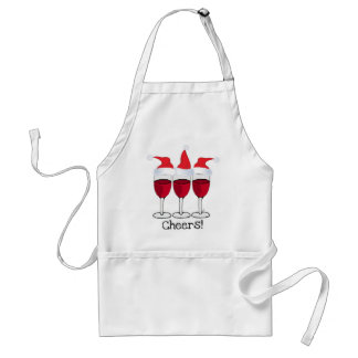 CHEERS! RED WINE AND CHRISTMAS HATS PRINT ADULT APRON