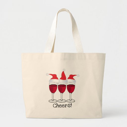 CHEERS! RED WINE AND CHRISTMAS HATS PRINT JUMBO TOTE BAG
