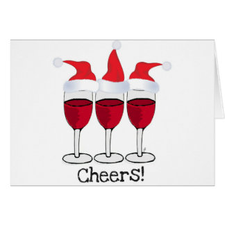 CHEERS! RED WINE AND CHRISTMAS HATS PRINT GREETING CARD