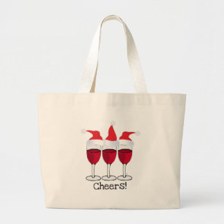 CHEERS! RED WINE AND CHRISTMAS HATS PRINT LARGE TOTE BAG