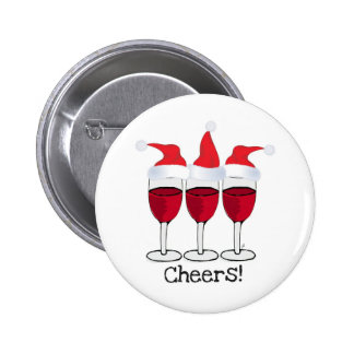 CHEERS! RED WINE AND CHRISTMAS HATS PRINT PINBACK BUTTON