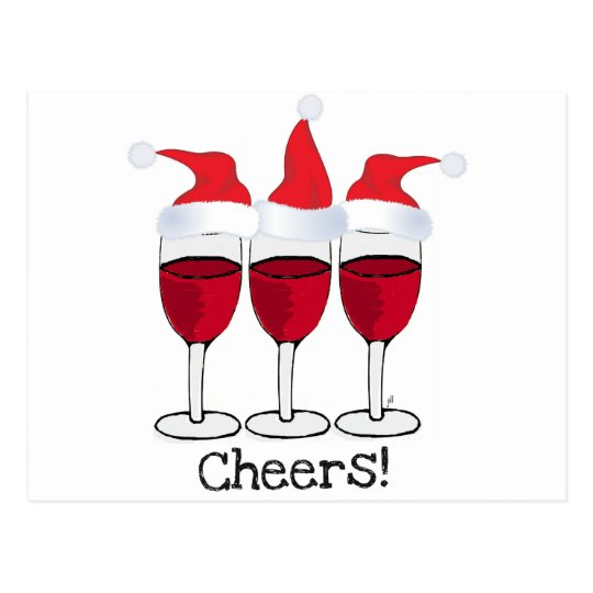 CHEERS! RED WINE AND CHRISTMAS HATS PRINT POSTCARD