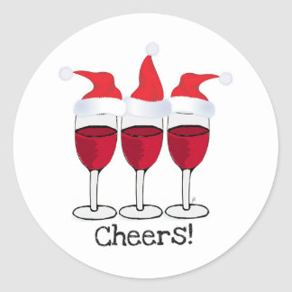 CHEERS! RED WINE AND CHRISTMAS HATS PRINT STICKERS