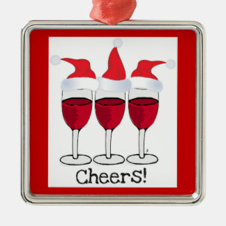 """CHEERS"" RED WINE GLASSES IN SANTA HATS ORNAMENT"