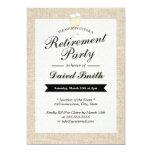 Cheers Rustic Burlap Retirement Party Invitations