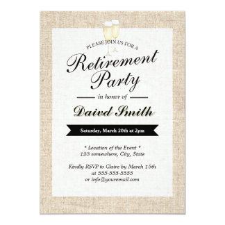 "Cheers Rustic Burlap Retirement Party Invitations 5"" X 7"" Invitation Card"