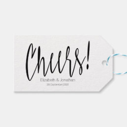 Cheers Simple Calligraphy Wedding Favor Tag