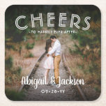 """Cheers Simple Photo Modern Picture Wedding Favors Square Paper Coaster<br><div class=""""desc"""">Add a personalized finishing touch to your special day celebration with these custom photo square pulp board drink coasters. (IMAGE PLACEMENT TIP: An easy way to center a photo exactly how you want is to crop it before uploading to the Zazzle website.) Design features one picture of your choice, handwritten...</div>"""
