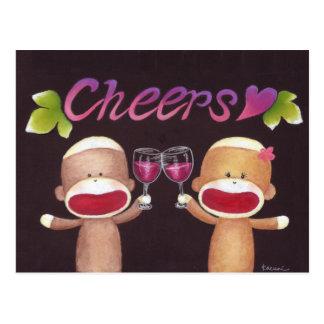 Cheers Sock Monkeys Postcard