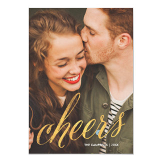 Cheers Sparkling Gold Script | New Year's Holiday Card