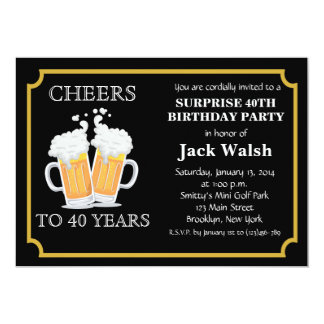 Cheers Surprise 40th Birthday Party Invitations