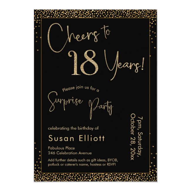Cheers to 18 Years Surprise Birthday Party Black Invitation