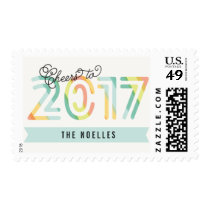 Cheers to 2017 Citrus Stripes Fun New Year Stamps