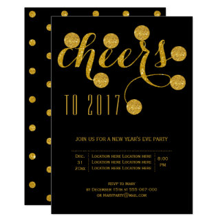 Cheers to 2017 gold New Year's Eve party black Card