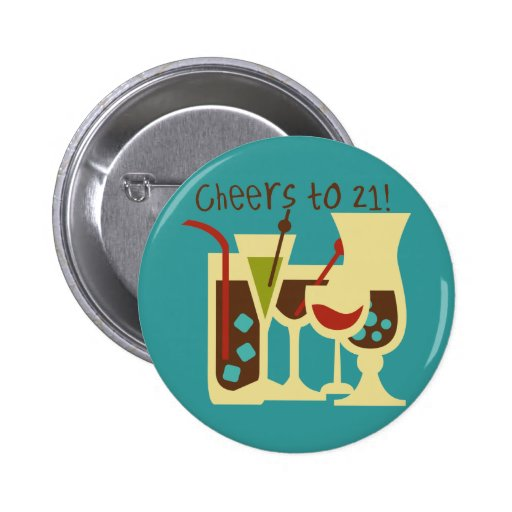 Cheers to 21 Birthday Button