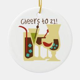 Cheers to 21 Birthday Ceramic Ornament