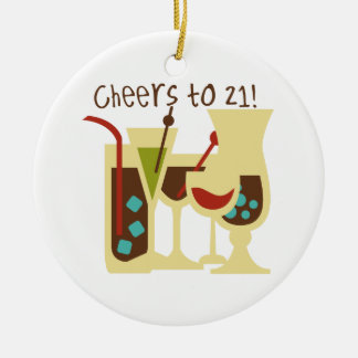 Cheers to 21 Birthday Double-Sided Ceramic Round Christmas Ornament