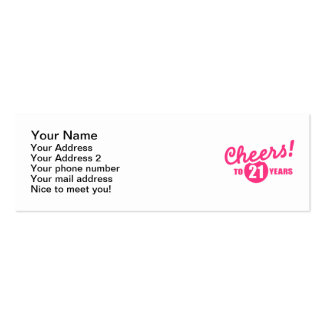 Cheers to 21 years birthday Double-Sided mini business cards (Pack of 20)
