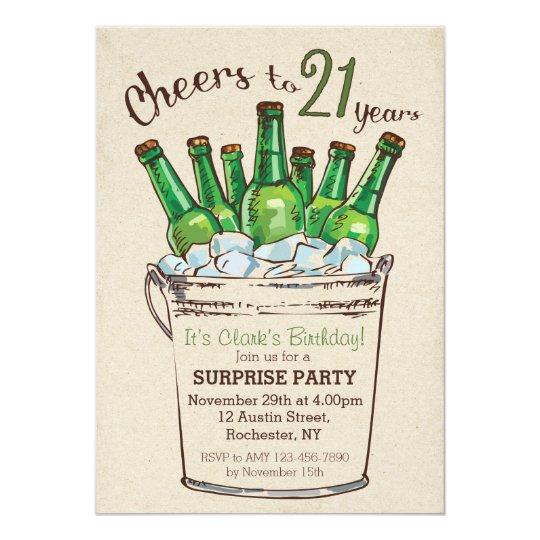 Cheers To 21 Years Birthday Invitation