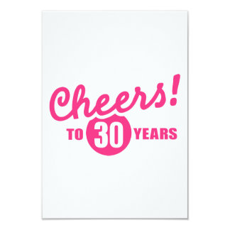 Cheers to 30 years birthday 3.5x5 paper invitation card