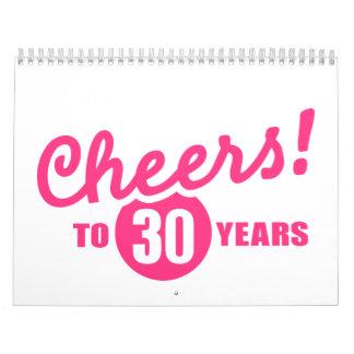 Cheers to 30 years birthday calendar