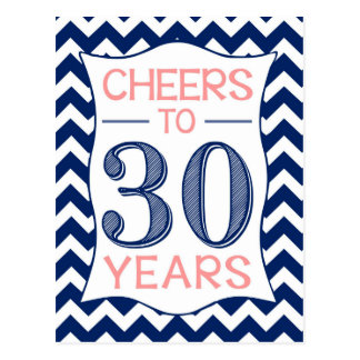Cheers to 30 Years Postcard