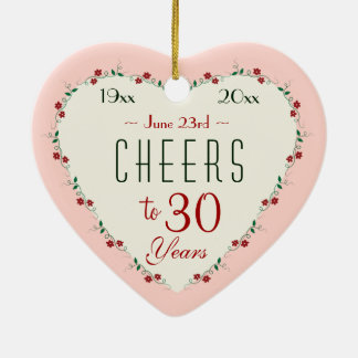 Cheers To 30th Wedding Anniversary Christmas Gifts Ceramic Ornament