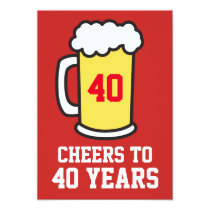 Cheers To 40 Years Beer 40th Party Invitation