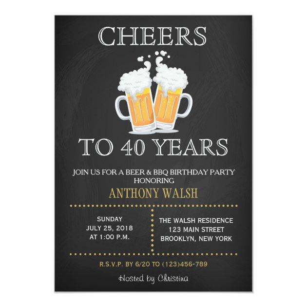 cheers to 40 years birthday chalk bbq invitation