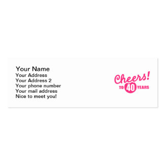 Cheers to 40 years birthday Double-Sided mini business cards (Pack of 20)