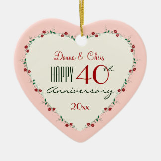 40th Wedding Anniversary Ornaments  Keepsake Ornaments  Zazzle