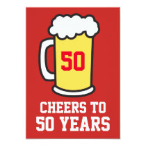 Cheers To 50 Years Beer 50th Party Invitation