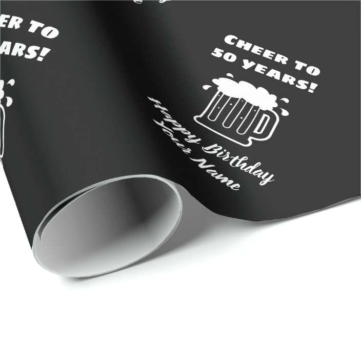 Cheers To 50 Years Funny 50th Birthday Wishes Wrapping Paper Zazzle Com