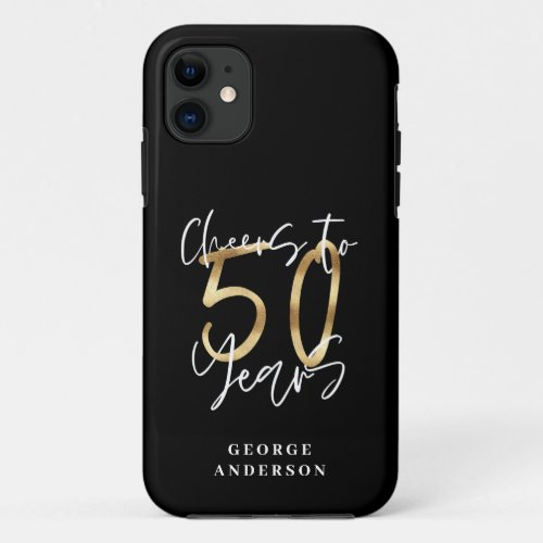 cheers to 50 years modern black and gold Phone Case