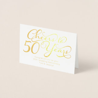 Cheers to 50 Years Personalized 50th Anniversary Foil Card