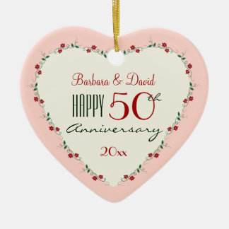 Cheers to 50th Wedding Anniversary Christmas Gifts Ceramic Ornament